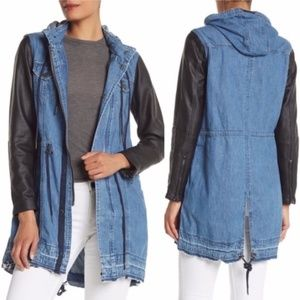 Blank NYC Denim & Faux Leather Long Hooded Jacket